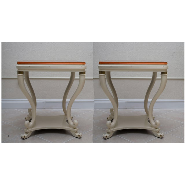 Pair of White Painted Empire Style End Tables - Image 7 of 7