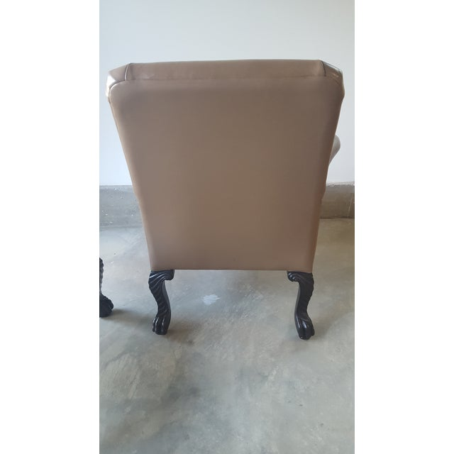 Michael Taylor Wing Arm Leather Chairs - A Pair - Image 5 of 5