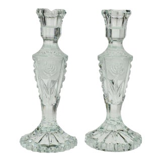Vintage Heavy Clear Glass Candlesticks With Floral Pattern - a Pair For Sale