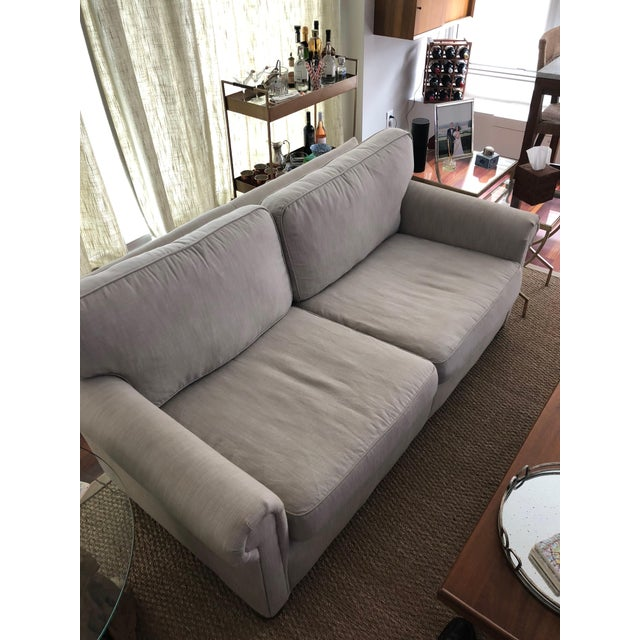 2010s Modern Restoration Hardware Linen Upholstered Standard Sofa For Sale - Image 5 of 8