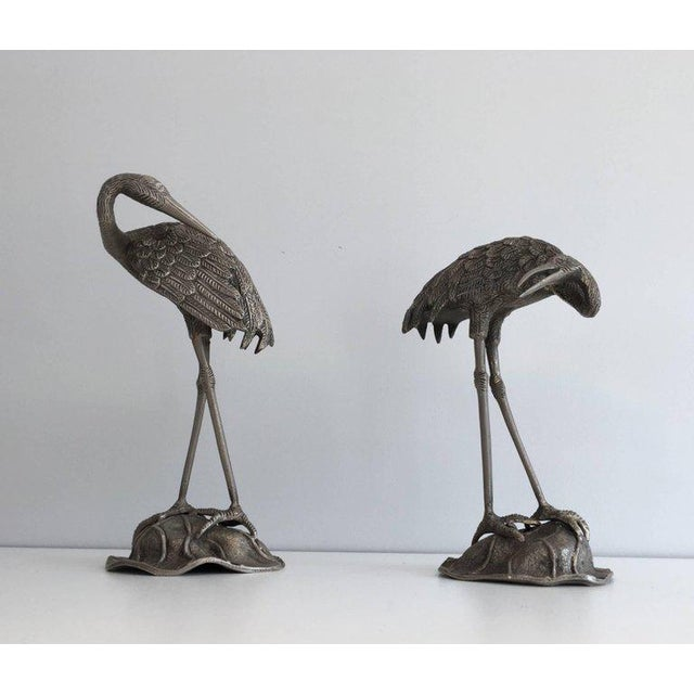 Art Deco Pair of Silvered Bronze Stork Statues, Attributed to Maison Baguès For Sale - Image 3 of 11