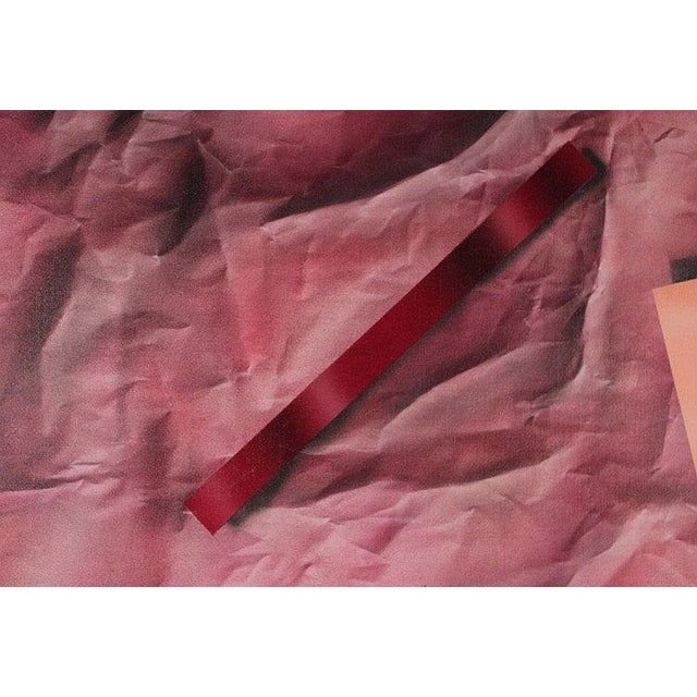 Mid-Century Modern 1980s Original Vintage R. Steele Abstract 3-D Op Art Mid-Century Modern Crimson Red Acrylic on Canvas Painting For Sale - Image 3 of 8