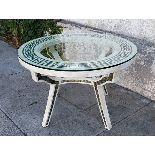 Vintage Regency Tessellated Marble Abalone Round Dining Table - Image 5 of 5