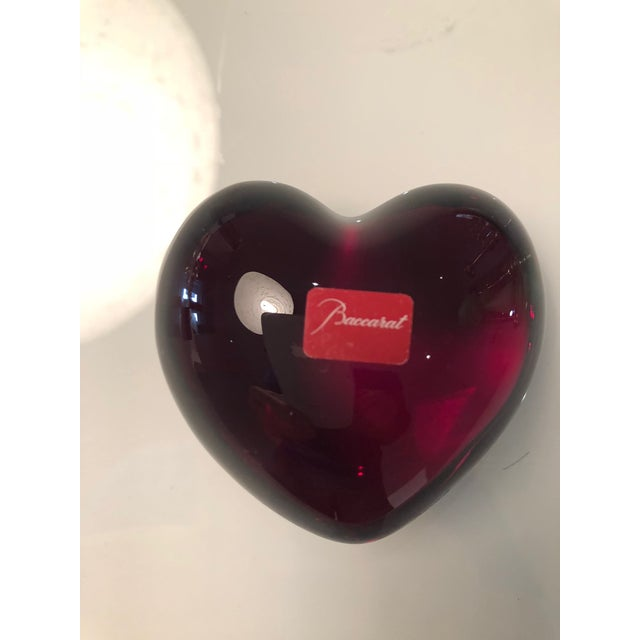 Boho Chic Bacarrat Ruby Heart Paper Weight For Sale - Image 3 of 5