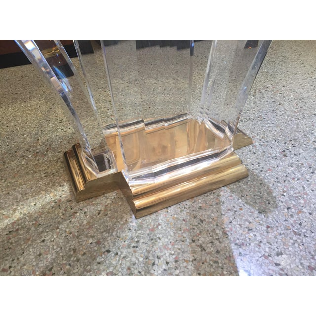 1980s Bigelow Table Base in Lucite and Polished Brass 1980s For Sale - Image 5 of 12