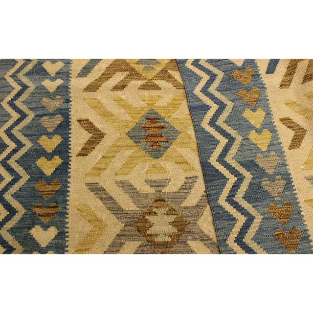 Textile Nancee Blue/Ivory Hand-Woven Kilim Wool Rug -5'6 X 8'5 For Sale - Image 7 of 8
