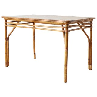 Mid-Century Modern Bamboo and Oak Dining Table For Sale