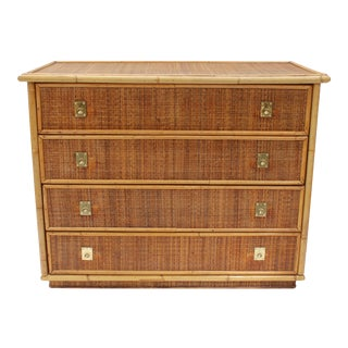 20th Century Boho Chic Bamboo and Rattan Chest of Drawers For Sale