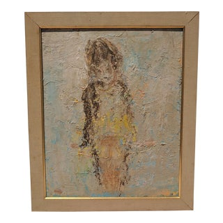Mid Century Abstract Figural Oil Painting Signed For Sale