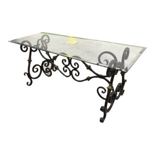 Wrought Iron and Glass Console Table For Sale