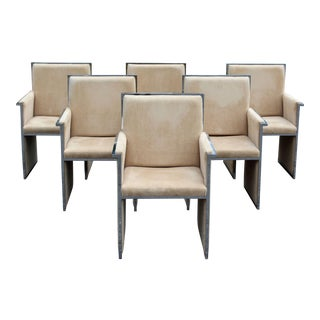 1970s Mid-Century Modern Chrome Beige Dining Armchairs - Set of 6