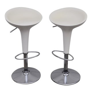 1990s Vintage Original Magis Bombo White Bar Stools by Stefano Giovannoni- a Pair For Sale