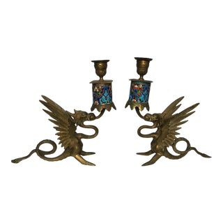Antique Asian Style Brass and Ceramic Dragon Candle Holders - a Pair For Sale