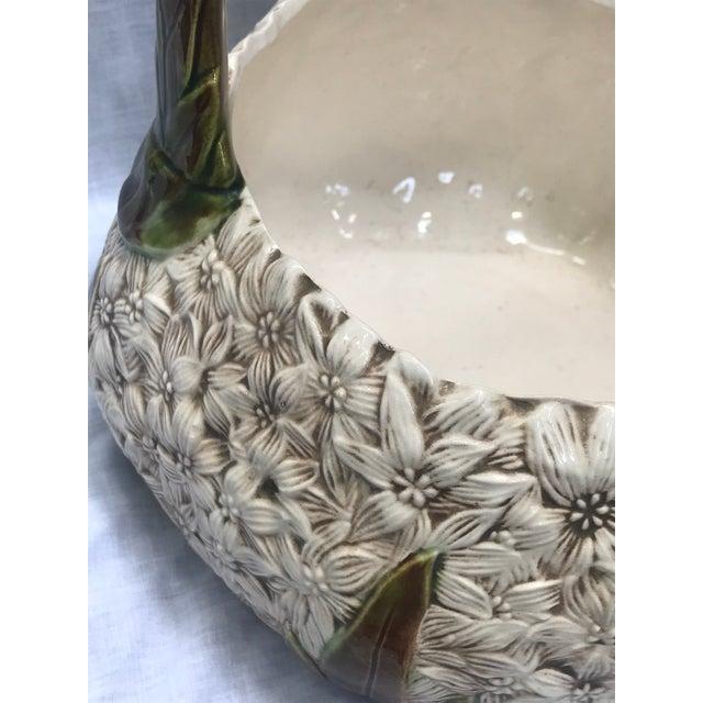 1980s 1980s Vintage Ceramic Floral Basket For Sale - Image 5 of 9