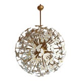 Image of Large Mid Century Sputnik Chandelier White Murano Glass Butterflies, Colored Through Light For Sale