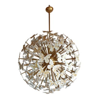 Large Mid Century Sputnik Chandelier White Murano Glass Butterflies, Colored Through Light For Sale