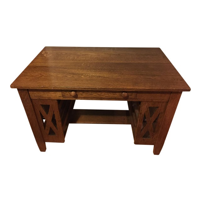 Arts & Crafts Wooden Writing Desk For Sale