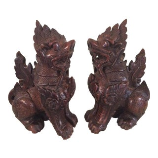 Asian Thailand Wooden Foo Dog Lions - a Pair For Sale