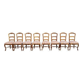 Vintage Mid Century French Country Carved Oak Dining Chairs- Set of 8 For Sale