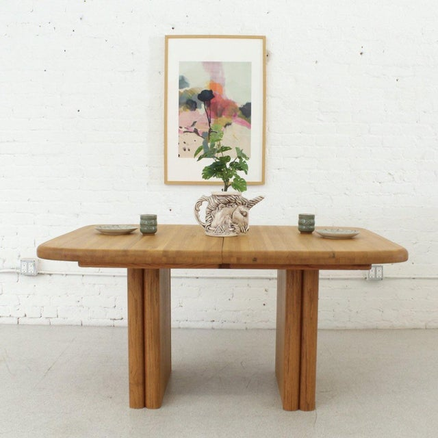 Solid Oak Boho Restored Dining Table For Sale - Image 4 of 8
