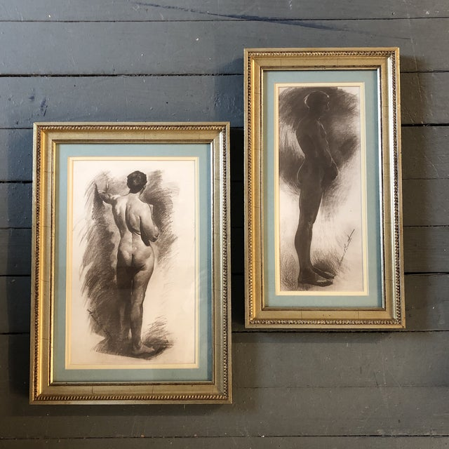 Charcoal Gallery Wall Collection 2 Male Nude Vintage Lithographs Framed For Sale - Image 7 of 7