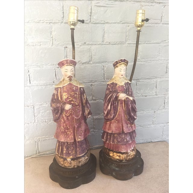 Chinese Ancestral Figural Lamps - Pair - Image 2 of 10