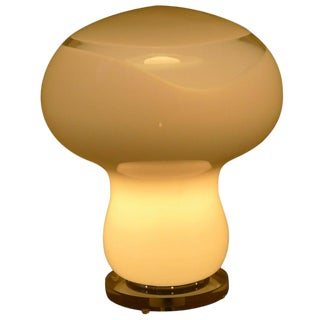 Murano Mushroom Table Lamp, Italian, With Clear Glass Swirl, Midcentury For Sale