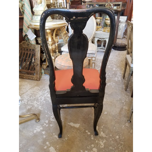 Black Pair of Chinoiserie Chairs For Sale - Image 8 of 12