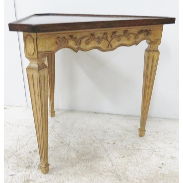 French Provincial Italian Corner Table W/ Floral Motif For Sale - Image 3 of 6