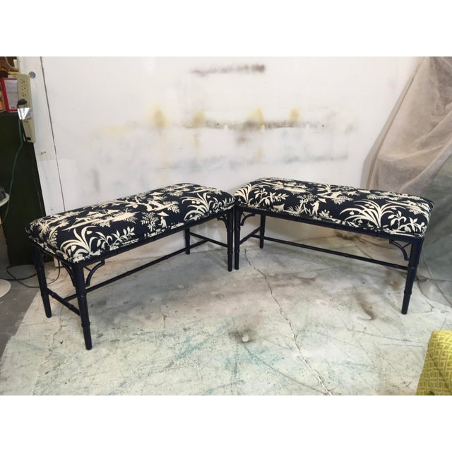 1970s Chinoiserie Faux Bamboo Benches - A Pair For Sale In Atlanta - Image 6 of 6