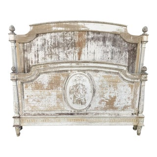 Antique French Louis XVI Style Painted Directoir Bed