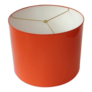 Medium High Gloss Orange Drum Lamp Shade For Sale