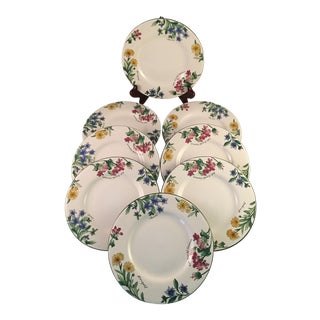 Marigold, Borage and Geranium Decorated Floral Appetizer or Dessert Plates - Set of 8 For Sale