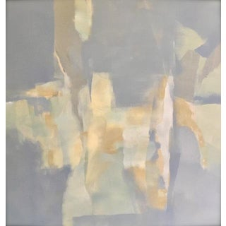 Abstract Modern Contemporary Gray, Blue & Yellow Painting by Martha Spak For Sale