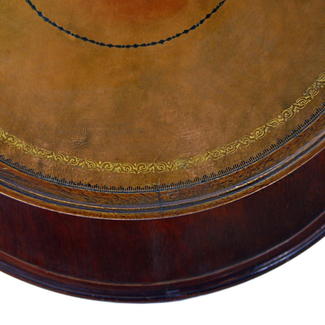 Vintage TwoTier Mahogany & Leather Claw Foot Table - Image 6 of 7