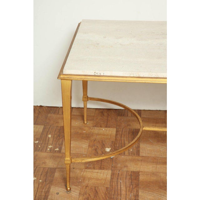 Hollywood Regency French Midcentury Gilt Iron Coffee Table With Travertine Top by Masion Ramsay For Sale - Image 3 of 6