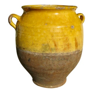 19th Century French Country Rustic Yellow Pot For Sale