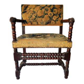 17th-Century Charles II Verdure Tapestry Armchair For Sale