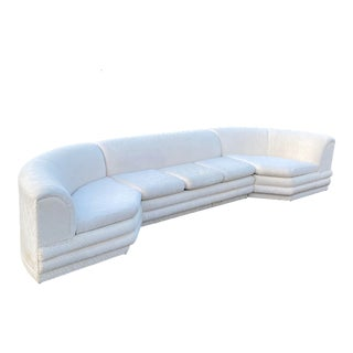 Vintage Curved 3 Piece Ribbed Sectional Sofa For Sale