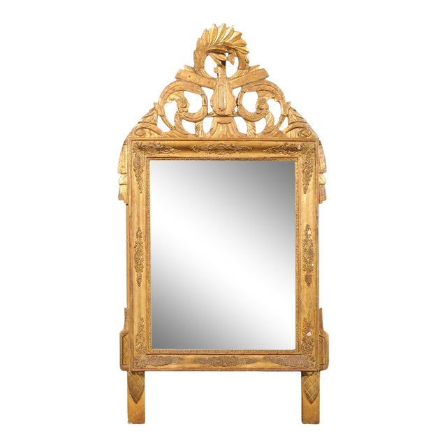 French Louis XV Style Giltwood Mirror with Hand Carved Liberal Arts Symbols For Sale