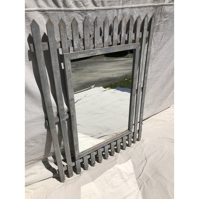 Wood Unique Vintage Picket Fence Style Framed Mirror For Sale - Image 7 of 8