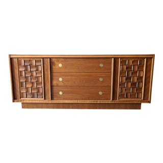 Mid Century Refinished Walnut and Brass Brutalist Dresser