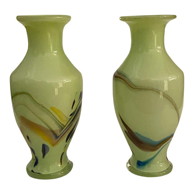 Mid Century Art Glass Green Vases - a Pair For Sale