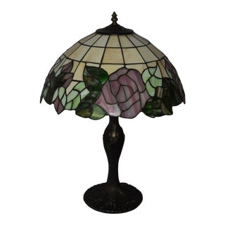 1900s Tiffany Style Lamp With Shade-Rose & Leaf Pattern Stained Glass For Sale