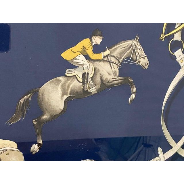 Silk Framed Vintage Hermes Scarf in Navy Blue and Gold For Sale - Image 7 of 9