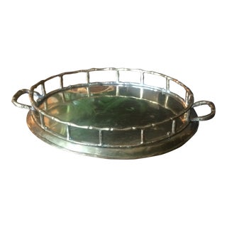 Vintage Mid-Century Modern Faux Bamboo Brass Tray For Sale
