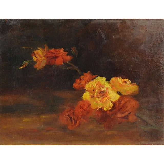 Art Nouveau Yellow Roses Impressionist Still Life Painting For Sale - Image 3 of 3