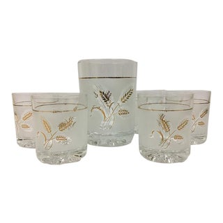 Mid-Century Devalbor Italy Frosted Glass Tumblers & Ice Bucket Cocktail Set - 7 Piece Set For Sale