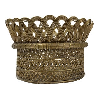 Late 20th Century Woven Brass Basket For Sale