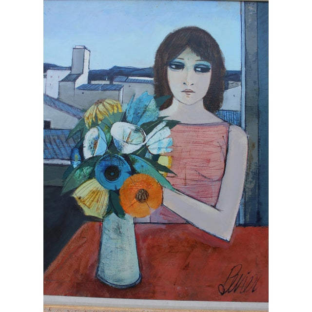 Mid 20th Century Charles Levier Reverie Oil Painting For Sale - Image 5 of 11